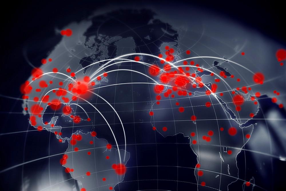Digitally generated image of Coronavirus spreading on world map