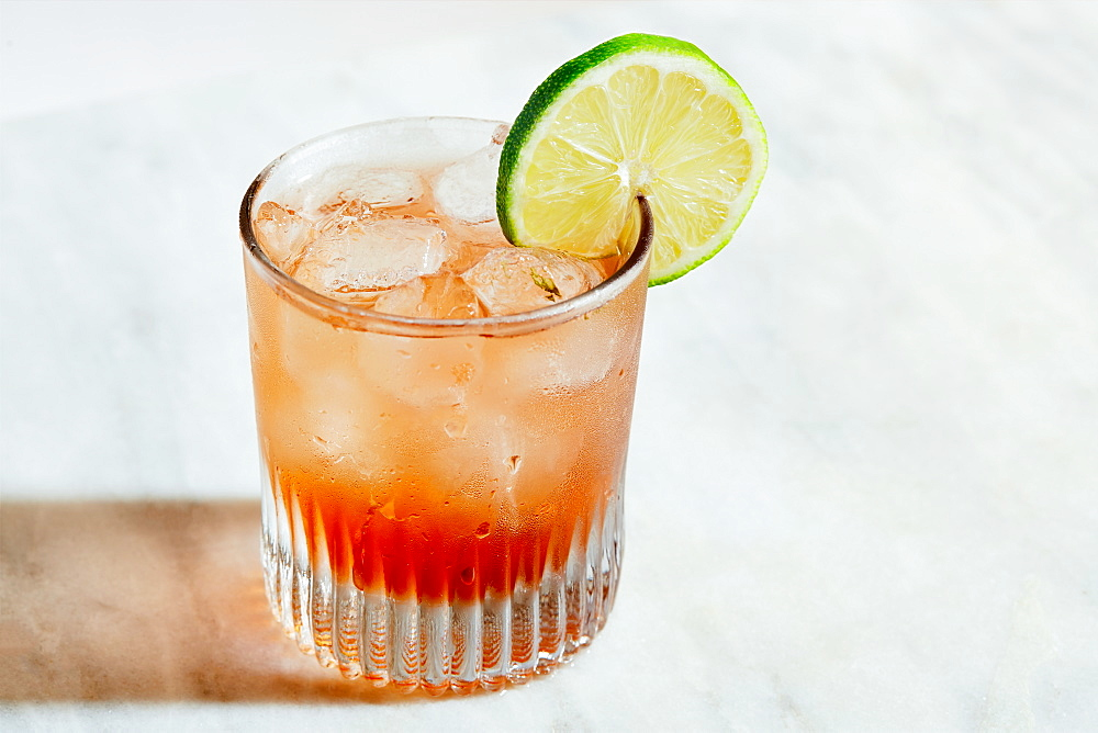 Vodka cranberry cocktail with lime
