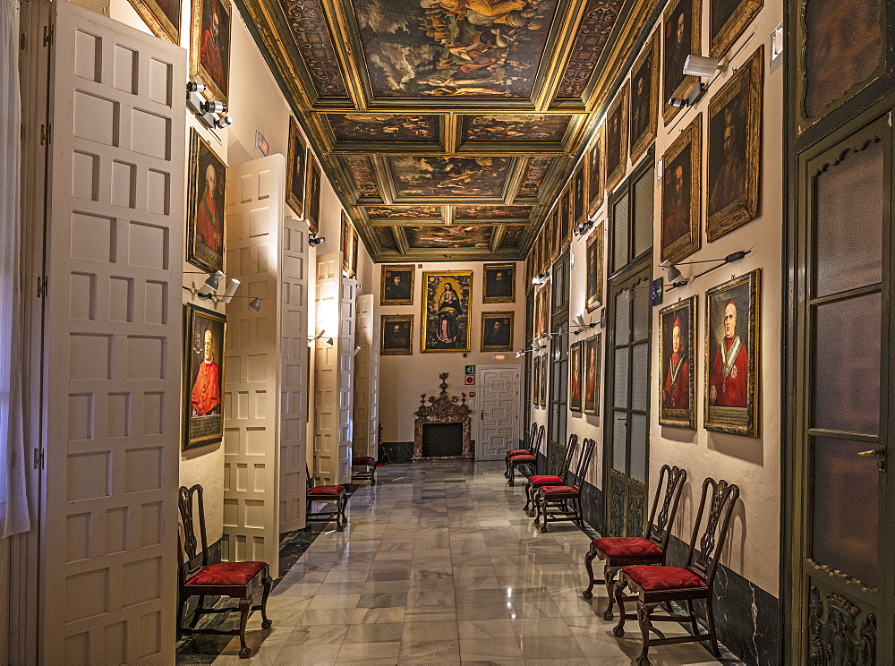 Spain, Seville, Portrait room in Archbishops Palace of Seville