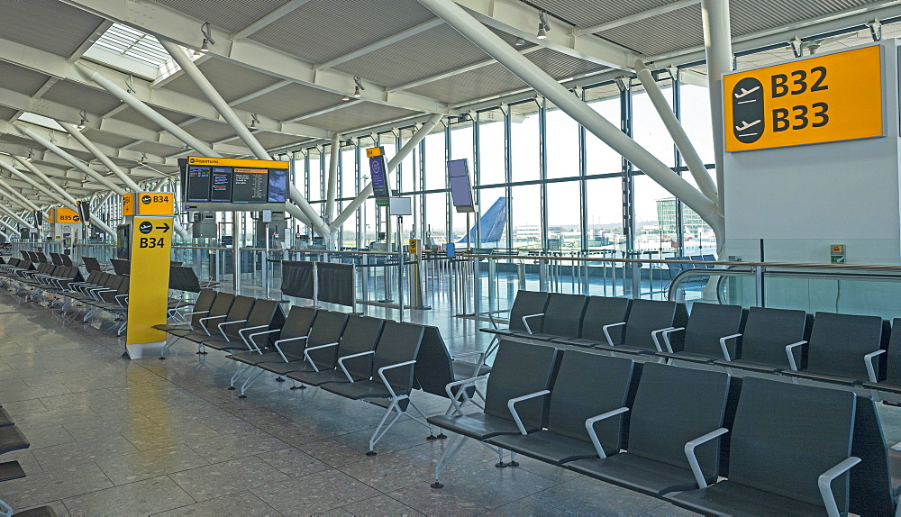England, London, Empty airport due to coronavirus pandemic