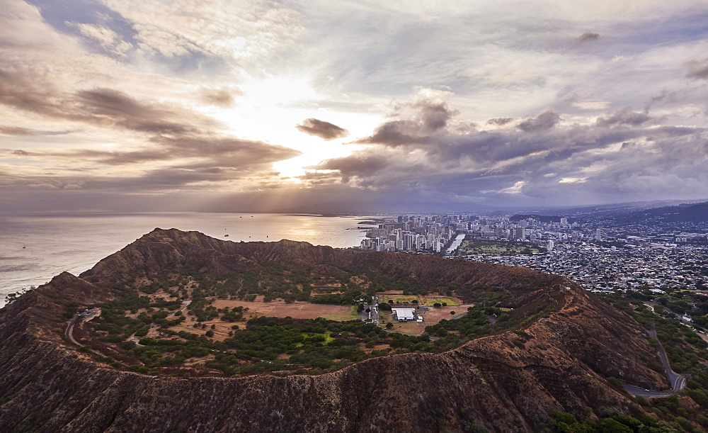 USA, Hawaii, Honolulu, Ariel view of Diamond Head at sunset