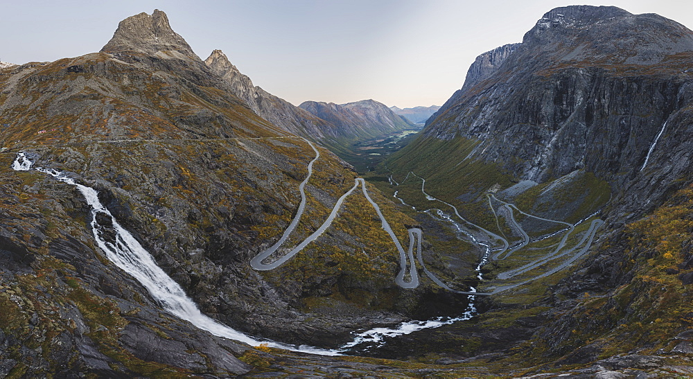 Norway, Andalsnes, Trollstigen, Panoramic view of Trollstigen in Norway at dawn
