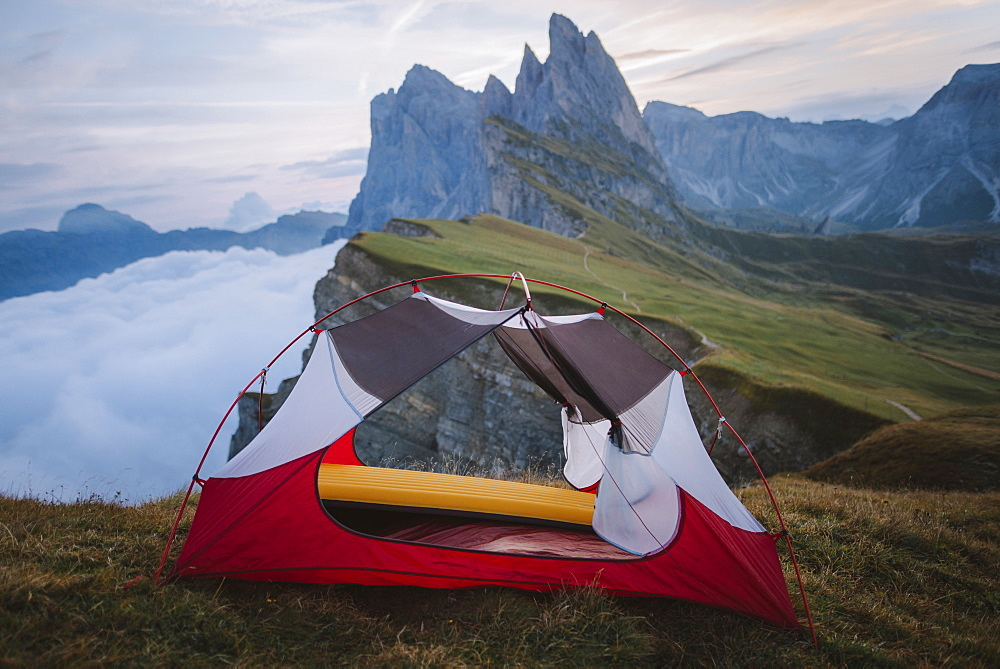 Italy, Dolomite Alps, Seceda mountain, Tent at Seceda mountain in Dolomites