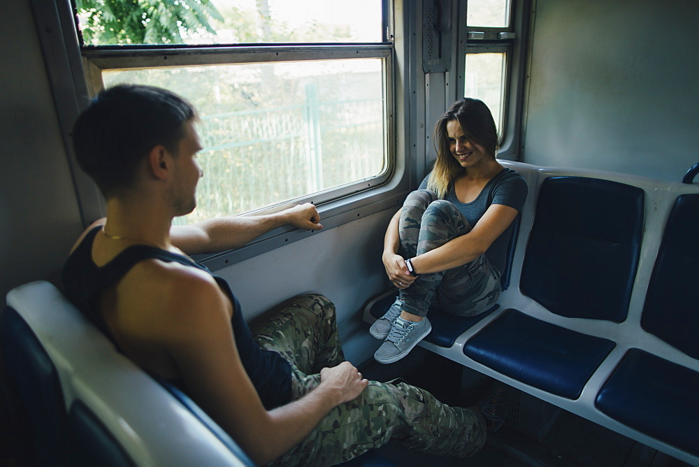 Couple on train