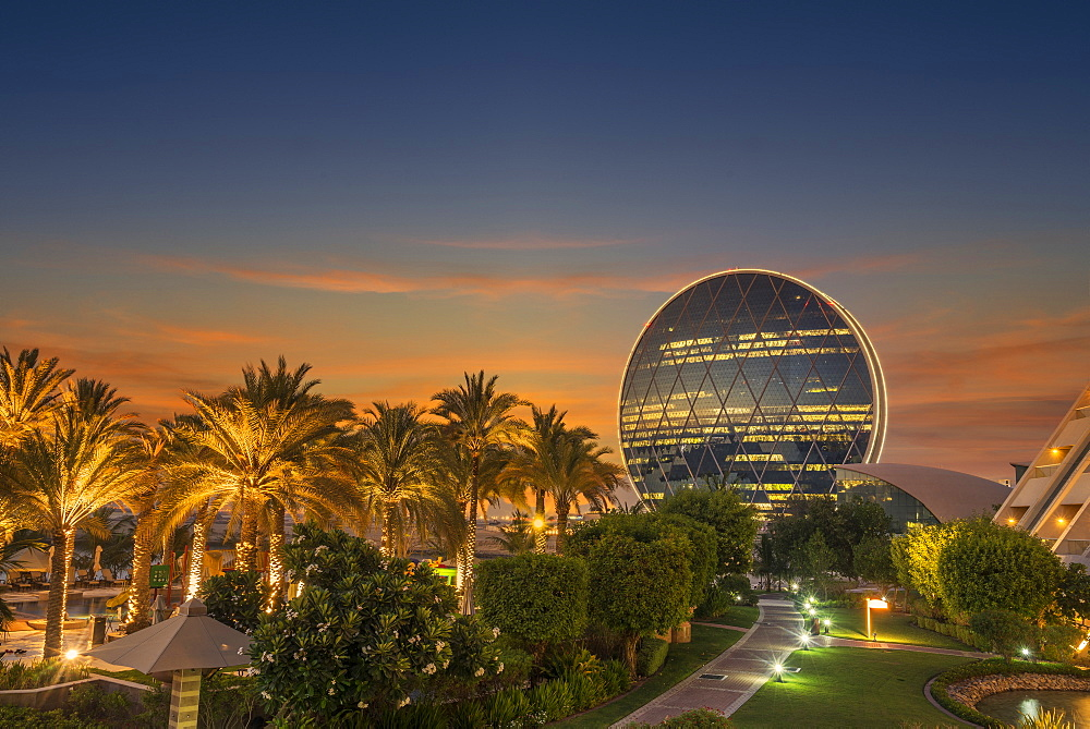 United Arab Emirates, Abu Dhabi, Aldar Properties headquarters at sunset