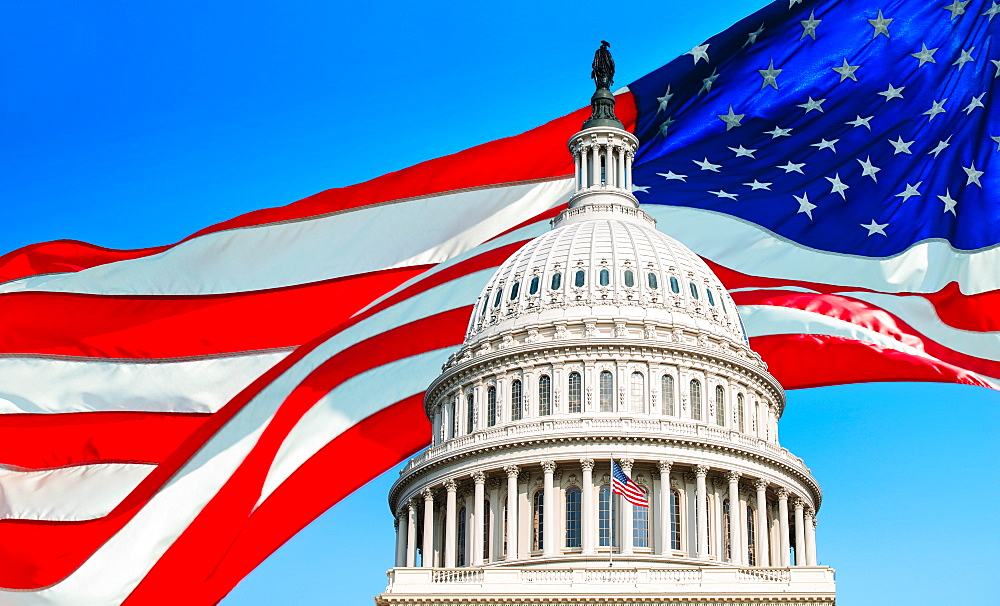 USA, Washington D.C., Capitol Building against background of American flag - 1178-30273