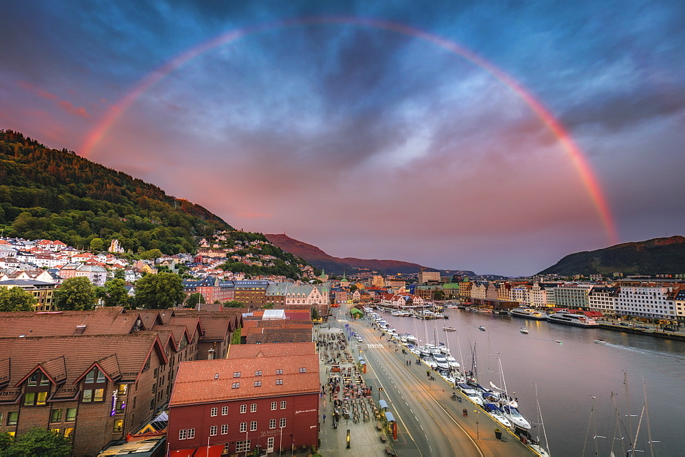 Norway, Western Norway, Bergen, Rainbow over city and fjords at sunset - 1178-30361