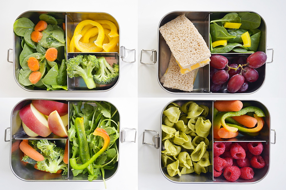 Lunch boxes with fresh vegetables and fruits - 1178-30523