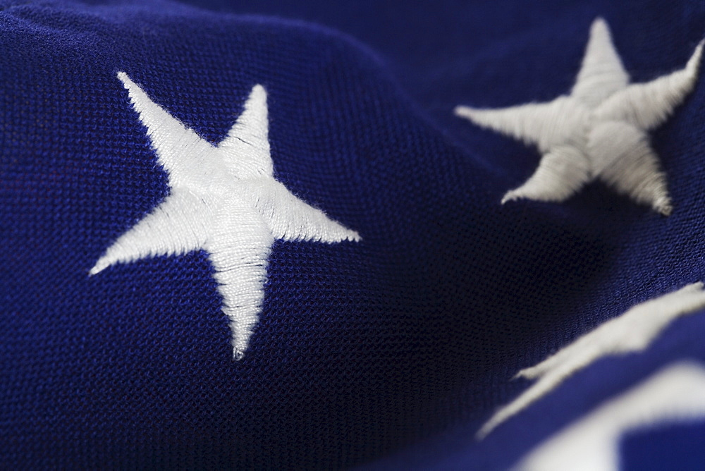 Closeup of stars on American flag