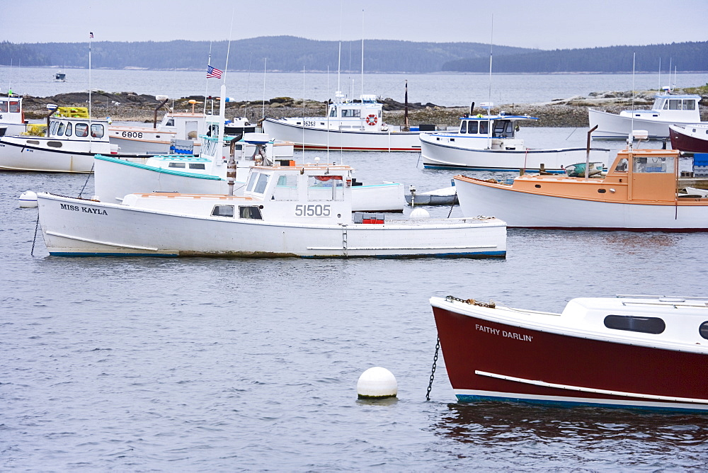 Lobster boats in a Maine harbor