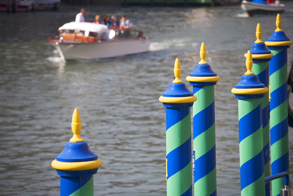 Mooring poles along the Grand Canal Venice Italy