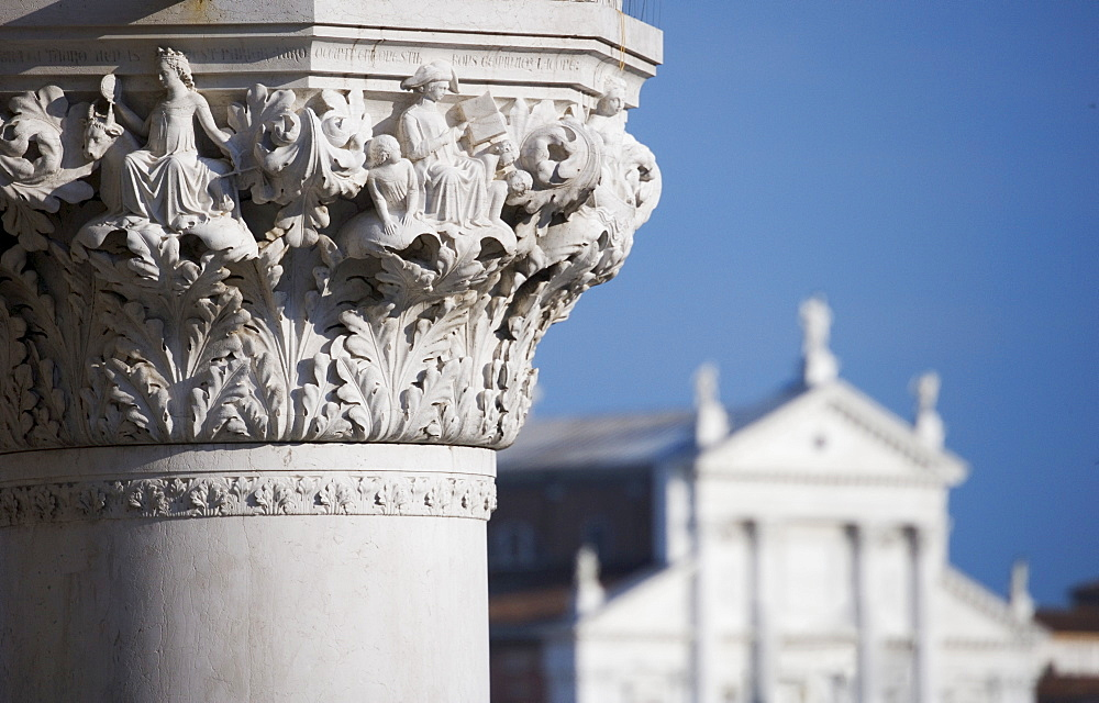 Column of the Doges'  Palace with Church of Saint Giorgio Maggiore  Venice Italy