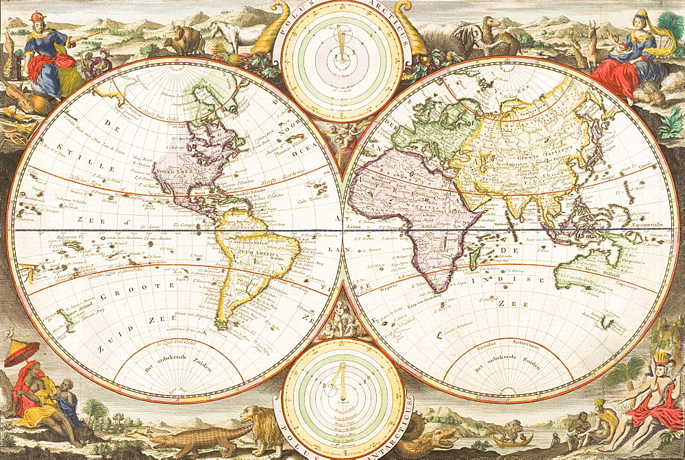 An antique map of the world