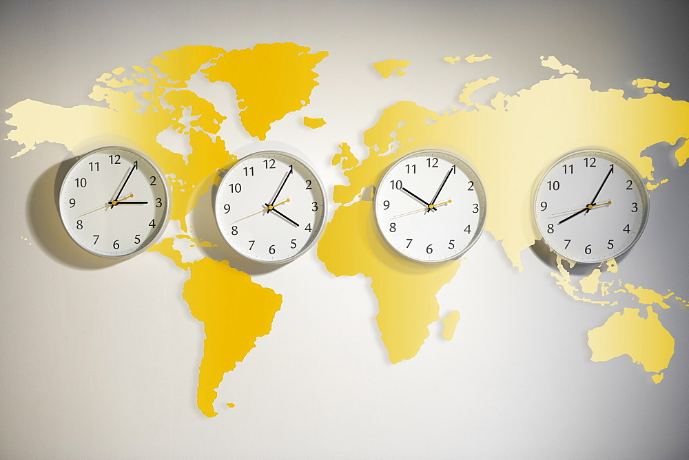 World map with clocks