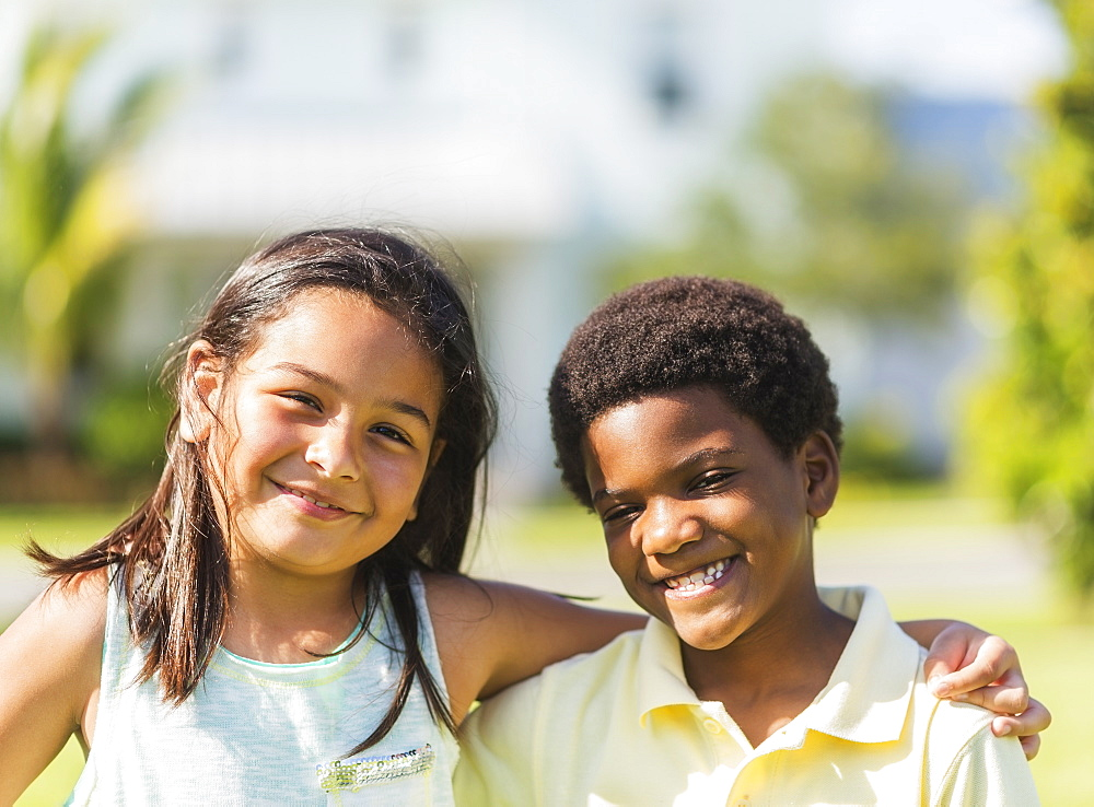 Portrait of girl ( 8-9) and boy (6-7), Jupiter, Florida