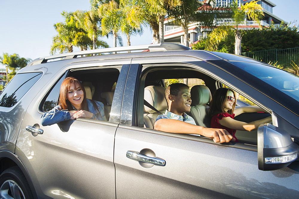 Happy people in car, Dana Point, California