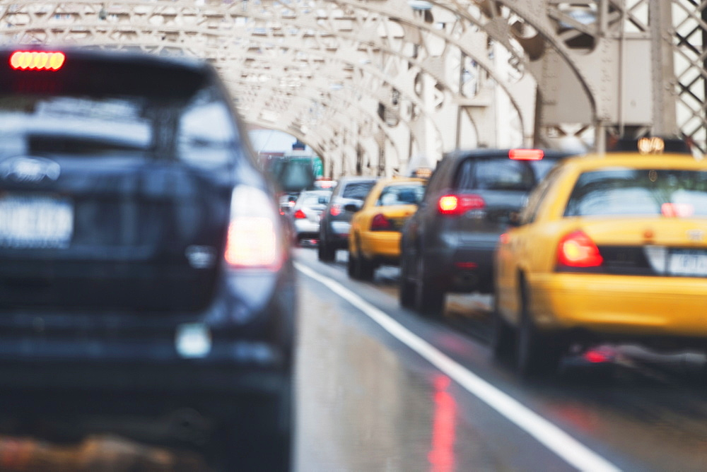 Cars in traffic jam, USA, New York State, New York City