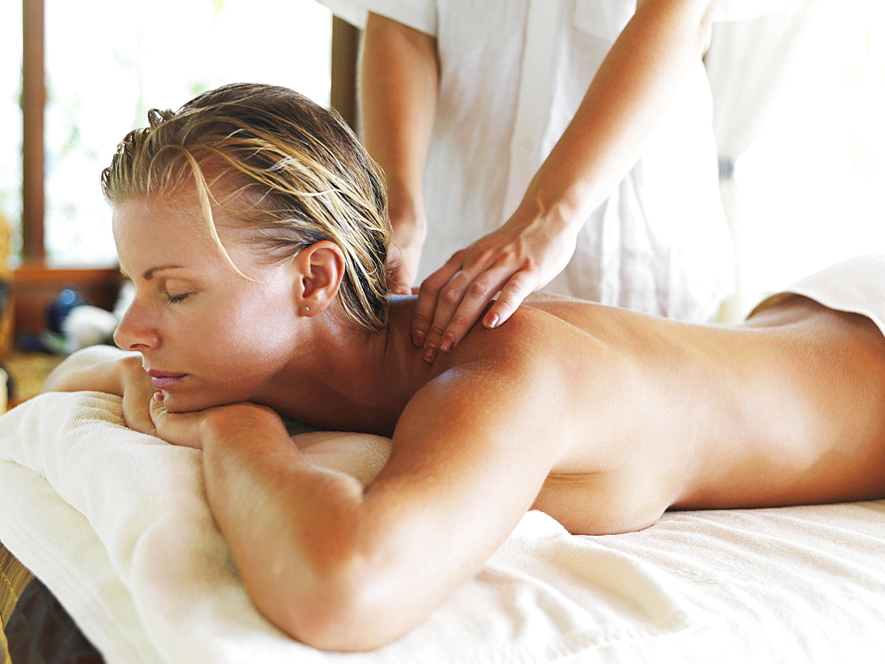 Woman getting massage in spa