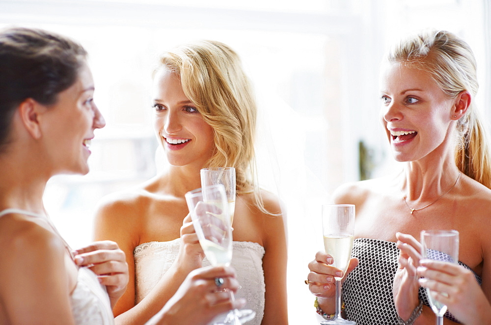 Bride and bridesmaids toasting and talking