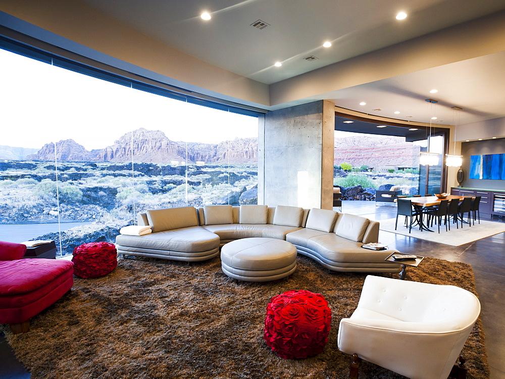 Modern living room interior facing terrace, USA, Utah, St. George