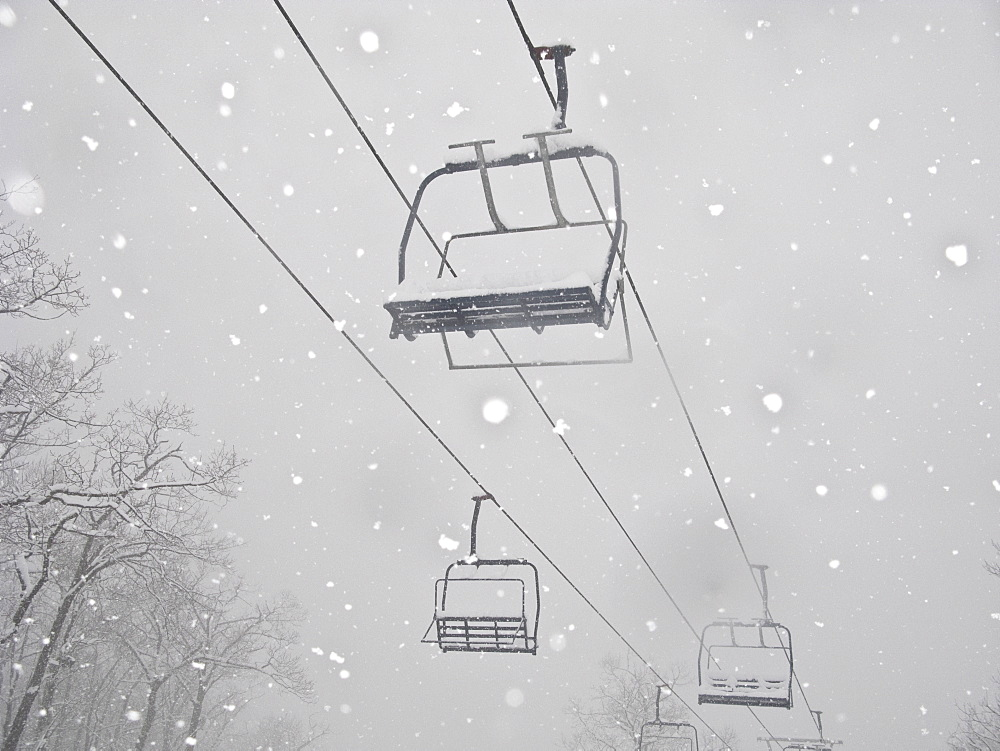 Ski lift in snow