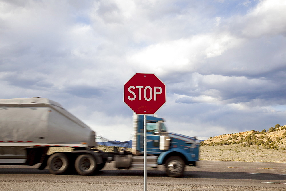 Truck passing stop sign