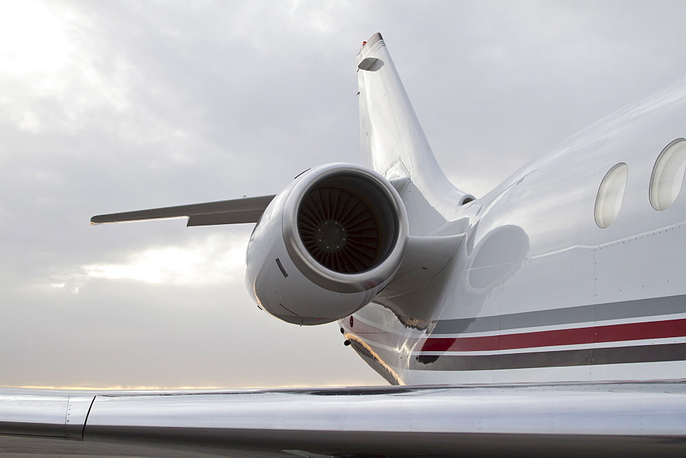 Rear section of Gulfstream G3 private jet with wing and engine