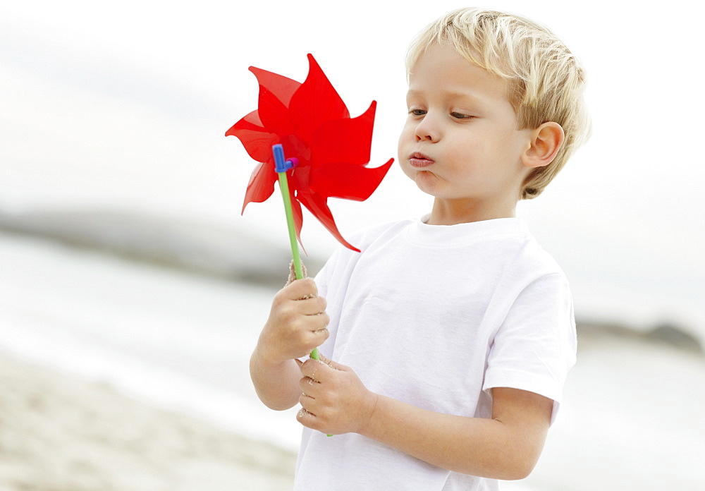 Portrait of boy (4-5) playing with pinwheel on beach