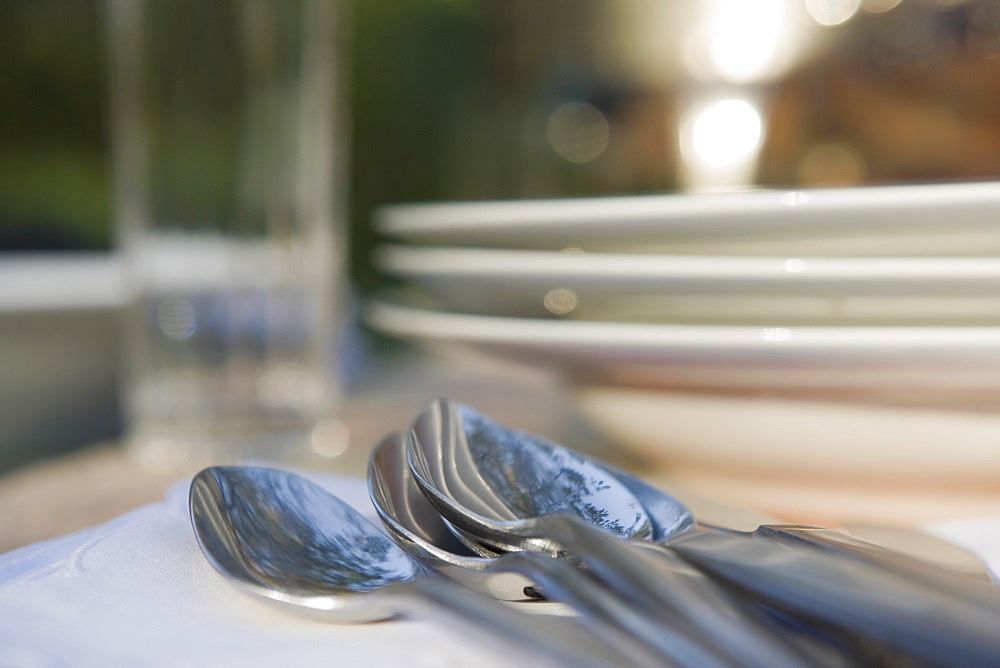 Close-up of cutlery and plates on dinner table