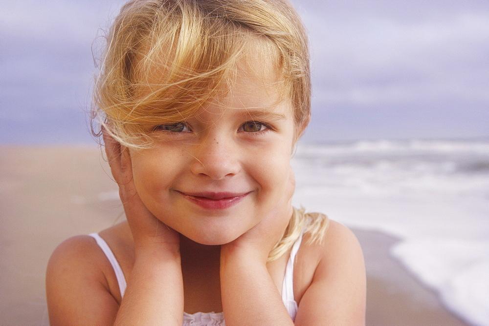 Girl posing at beach