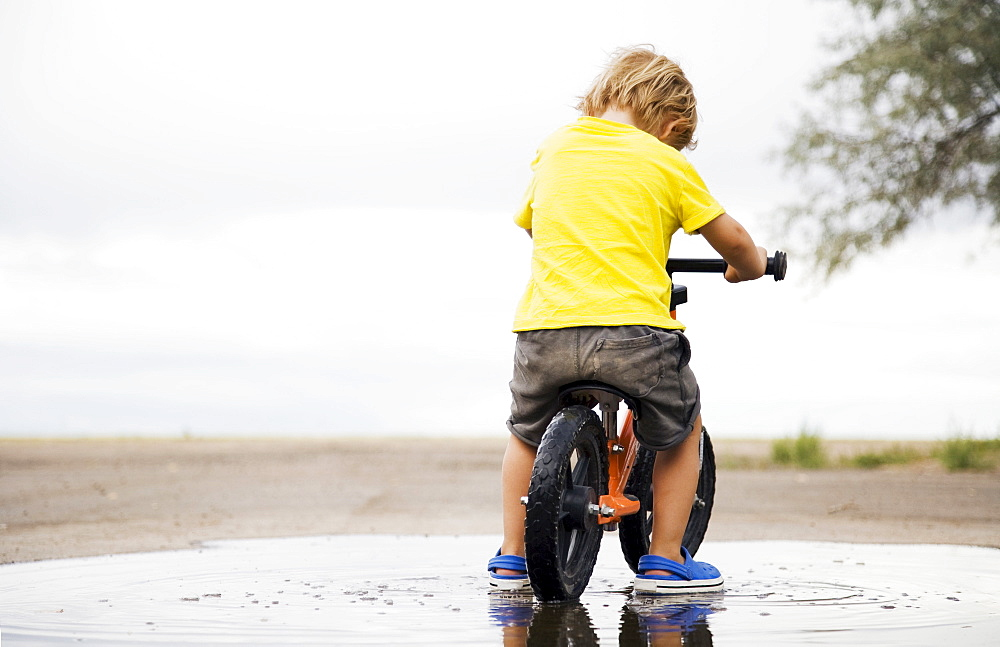 Toddler boy (2-3) riding bicycle in puddle, Colorado, USA