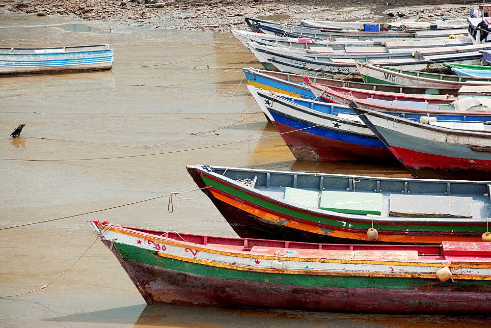 Panama, Panama City, Fishing boats on coastline at low tide