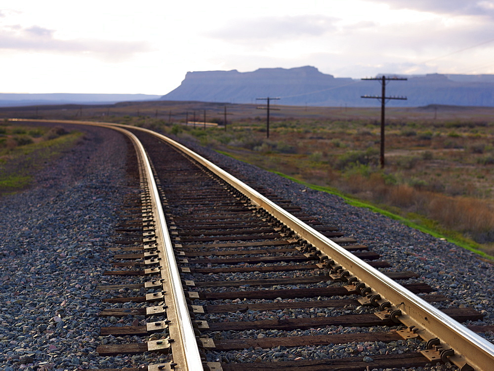 USA, Utah, Desert landscape with railroad track