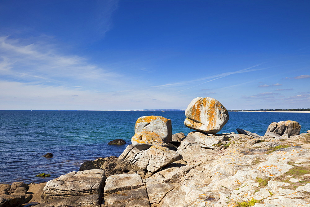 France, Brittany, Finistere Department, Rocks and ocean
