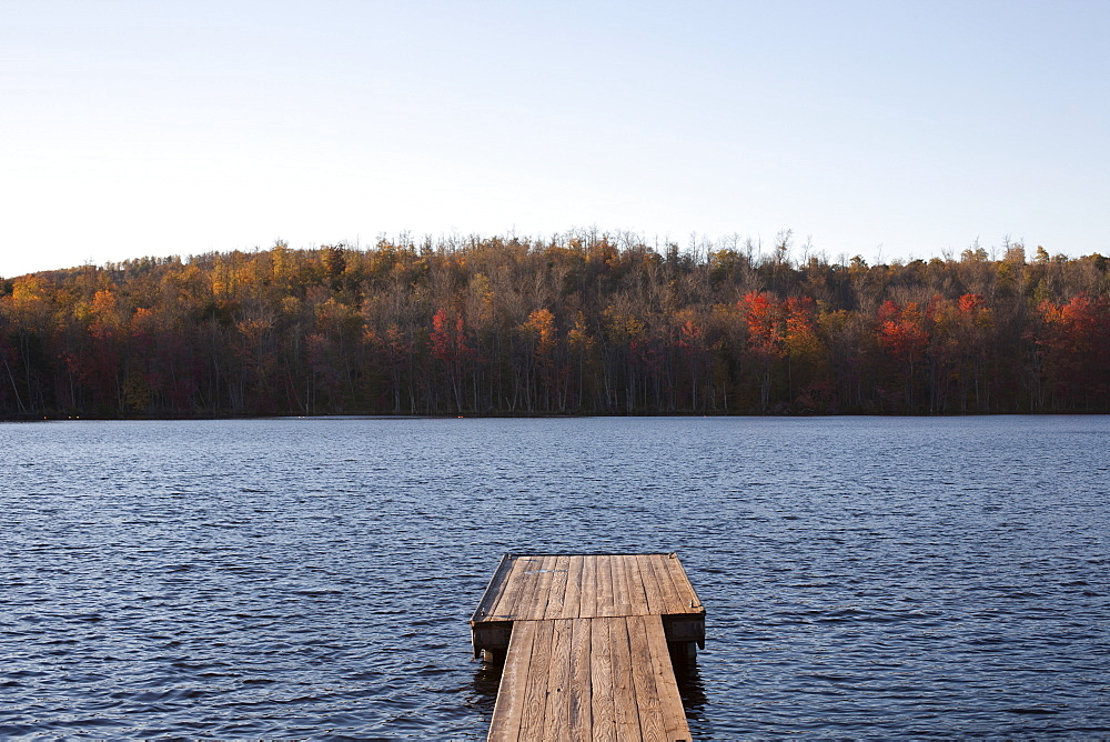 USA, Pennsylvania, Calicoon, Wooden pier at lake
