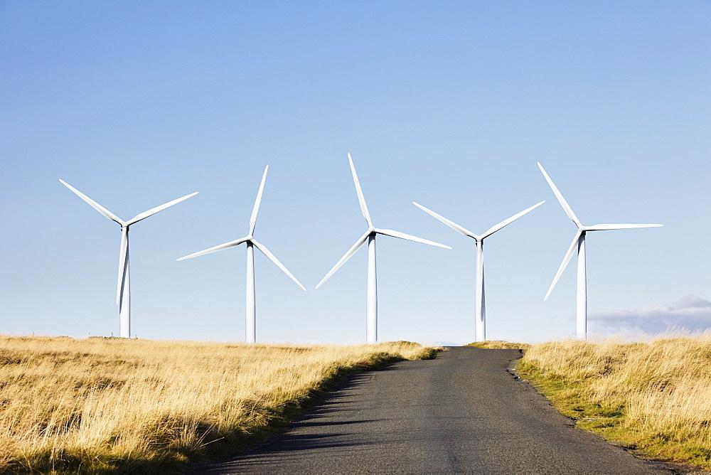 Road leading to wind turbines