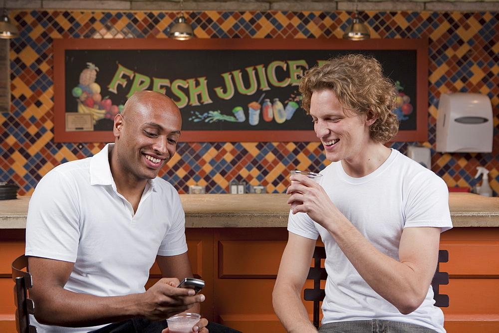 Customers in juice bar