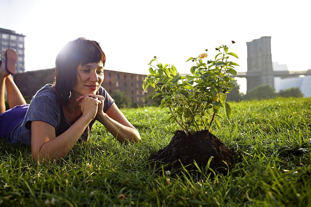 Woman looking at aspen sapling on grass