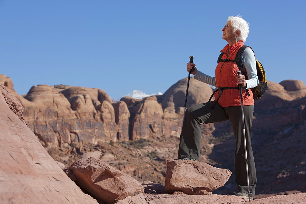 Elderly hiker in canyon