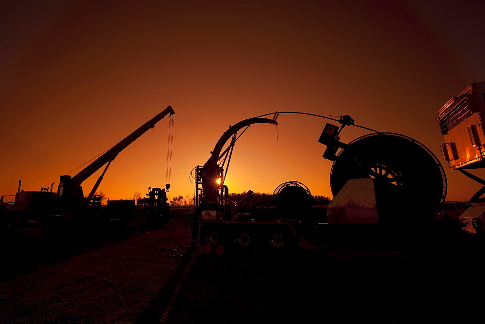 Heavy equipment at dawn