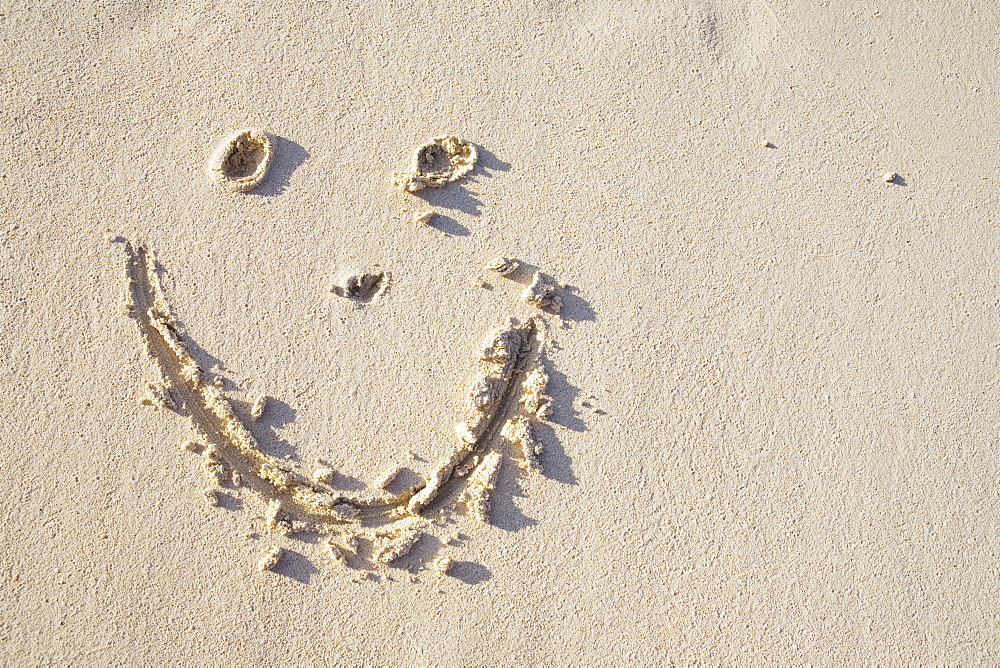 Happy face in the sand
