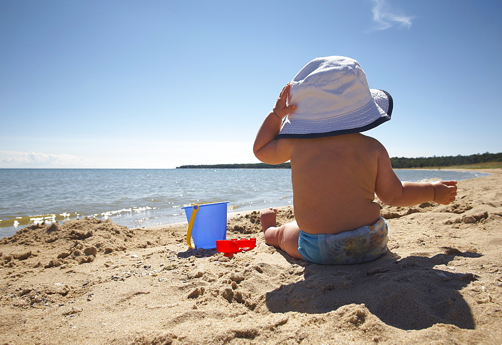 A young boy at the beach