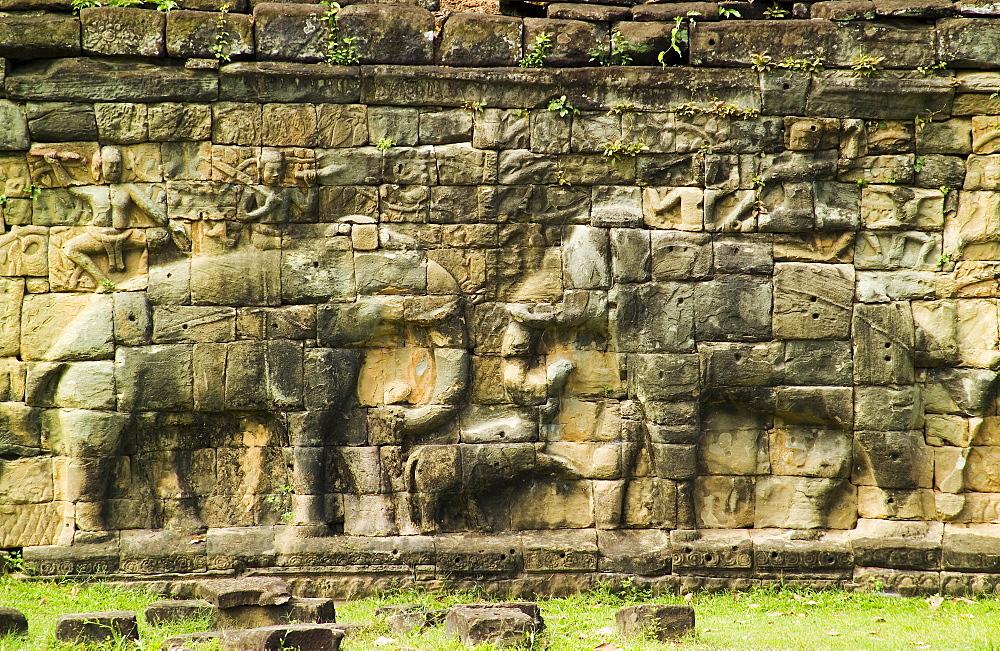 Terrace of the Elephants at ancient Temple Angkor Thom Angkor Wat Cambodia Khmer