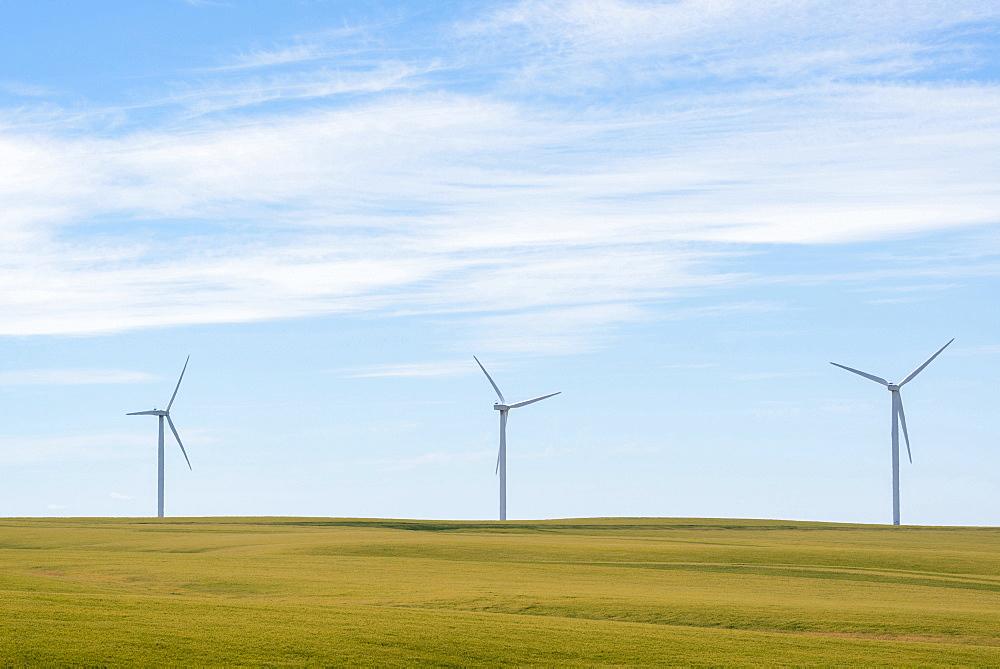 Wind turbines at green field, Oregon