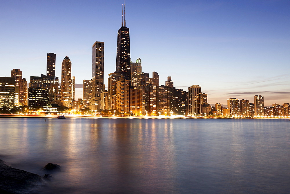 Gold Coast buildings at dusk, Chicago, Illinois  - 1178-6609