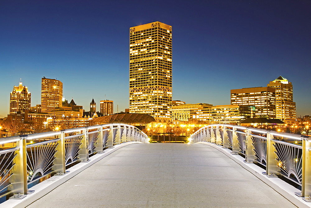 Pedestrian bridge with skyline in background, Milwaukee, Wisconsin