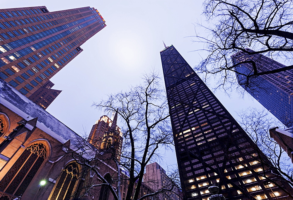 Low angle view of John Hancock Center seen from Fourth Presbyterian Church, Chicago, Illinois