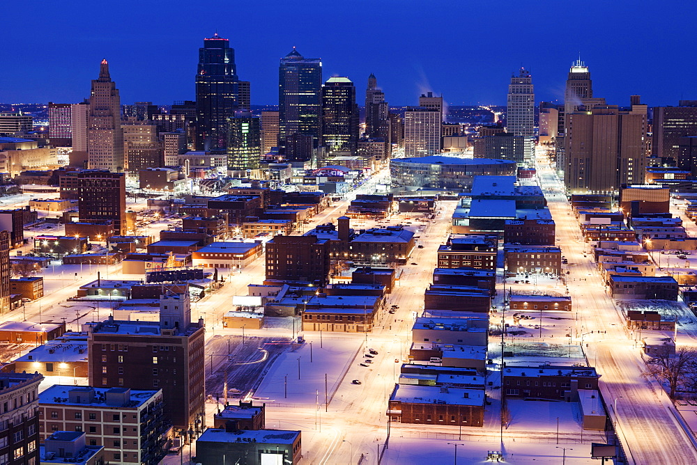 Elevated view of city in winter, Kansas City, Missouri