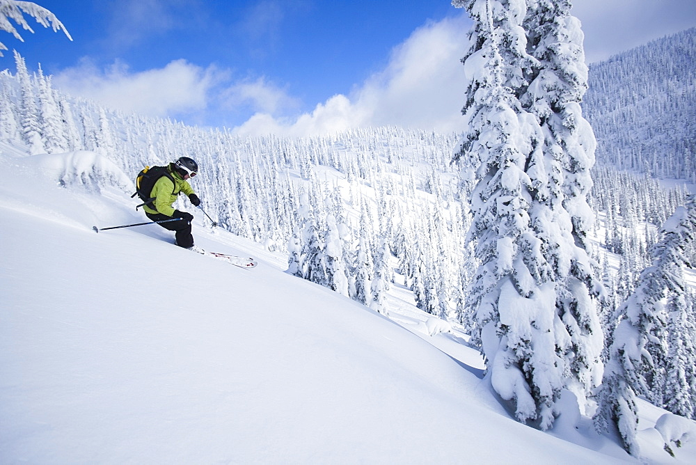 Woman skiing, USA, Montana, Whitefish