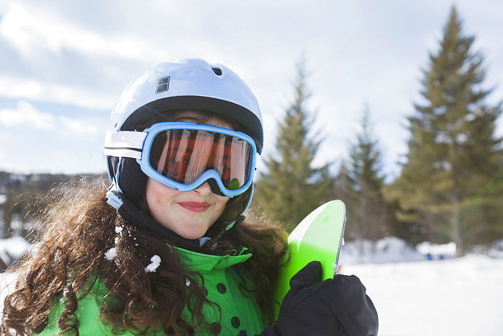 Portrait of girl skiing, USA, Montana, Whitefish